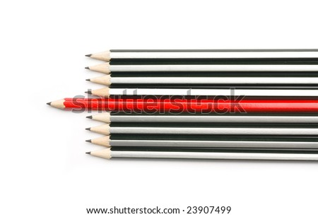 Group of pencils with one highlighted as business concept for leadership, winning and standing out from the crowd. - stock photo