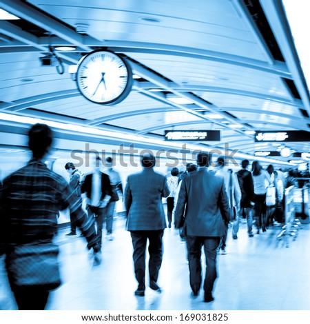 group of people activity, walk at subway station. - stock photo
