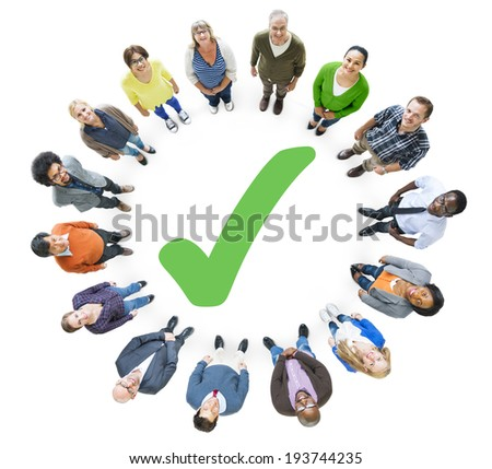 Group of People and Checked Mark - stock photo