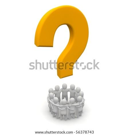 Group of people and question mark. 3d rendered illustration. - stock photo