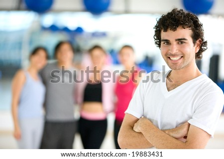 group of people at the gym portrait - stock photo