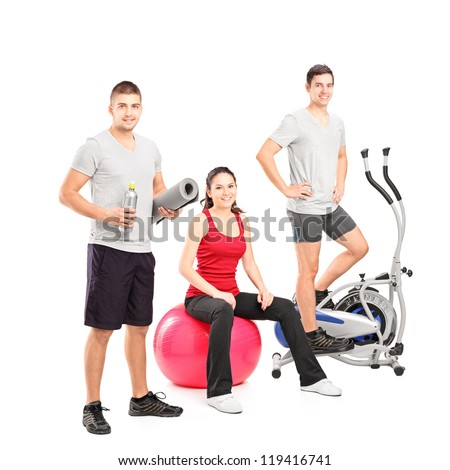 Group of people at the gym posing isolated on white background - stock photo