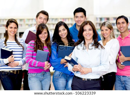 Group of people at the university looking happy - stock photo