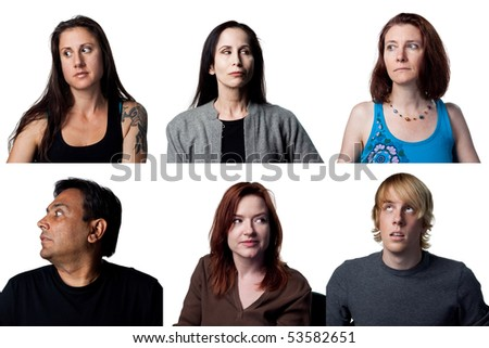 Group of people being suspicious and looking away slyly - stock photo