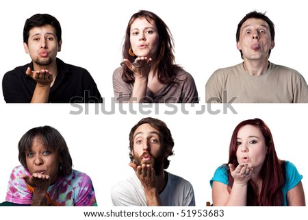 Group of people blowing a kiss to the viewer