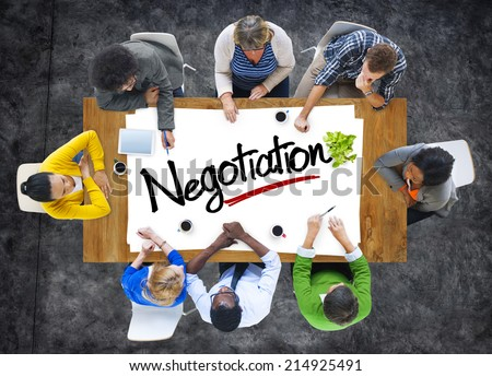 Group of People Brainstorming about Negotiation Concept - stock photo