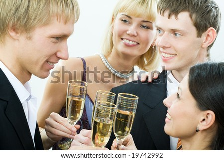 Group of people celebrating a victory - stock photo