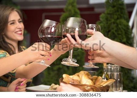 Group of people celebrating their success while holding wineglasses and toasting with wine during a lunch in the restaurant. - stock photo
