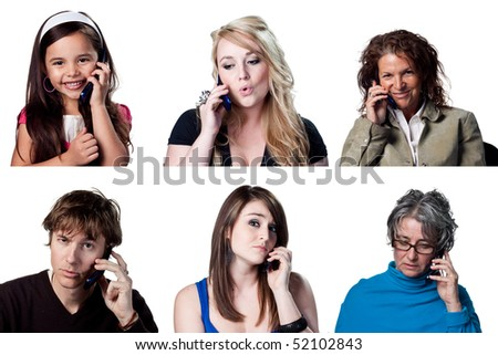 Group of people chatting on a cell phone - stock photo