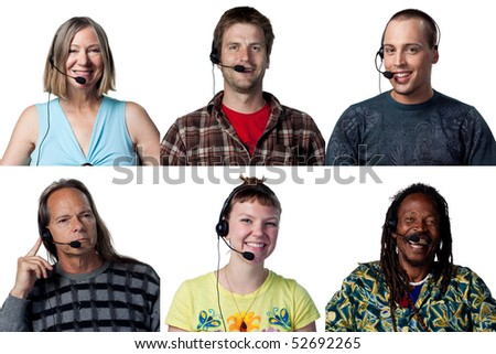Group of people chatting over the internet - stock photo