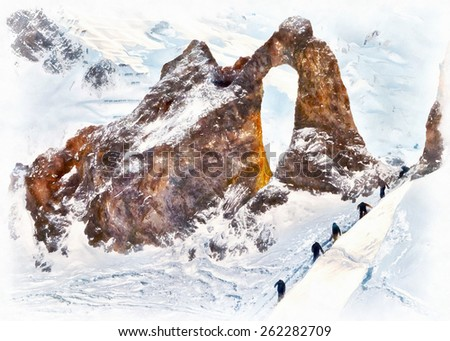 Group of people climbing on Perseus Ring Background at Winter - stock photo