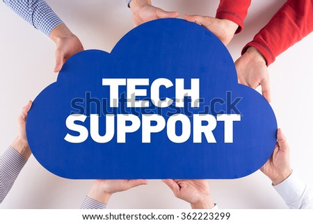 Group of People Cloud Technology TECH SUPPORT Concept - stock photo