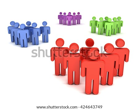 Group of people concept isolated over white background with shadow. 3D rendering. - stock photo
