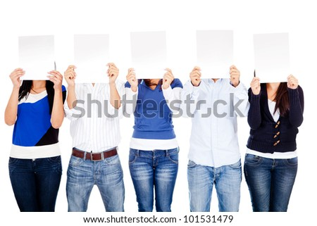 Group of people covering their face with banners - isolated