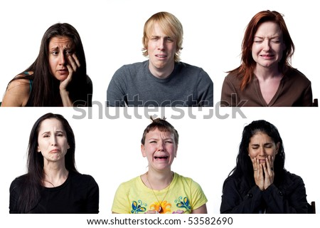 Group of people crying at the camera - stock photo