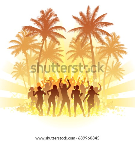 Group of people dancing with the sun in the background.