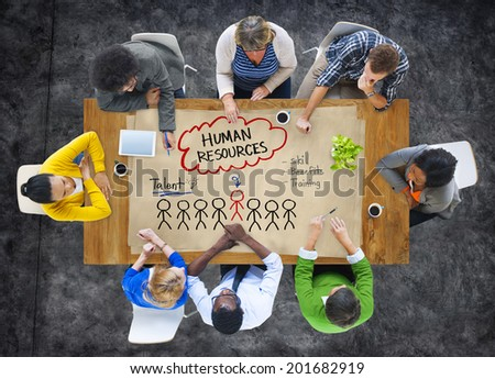Group of People Discussing about Human Resources Concept - stock photo