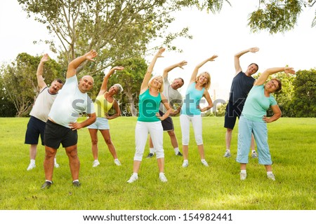 Group of People doing flexibility exercises