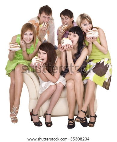 Group of people eat cake. Isolated. - stock photo