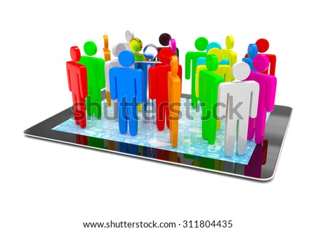 group of people figures on tablet PC, 3d render