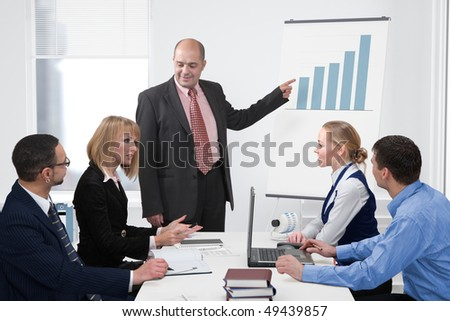 Group of people formed of businessmen and businesswomen discussing a chart in a presentation
