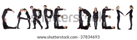 Group of people forming the phrase 'CARPE DIEM', isolated on white background. - stock photo