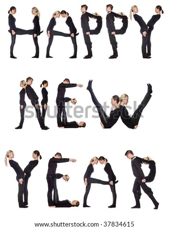 Group of people forming the phrase 'Happy new year', isolated on white background. - stock photo