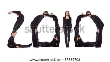 Group of people forming the word '2010', isolated on white background. - stock photo