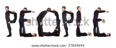 Group of people forming the word 'PEOPLE', isolated on white background. - stock photo
