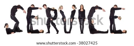 Group of people forming the word 'SERVICE', isolated on white background.
