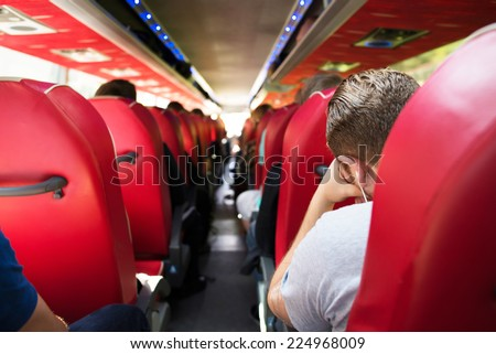 group of People going by bus - stock photo