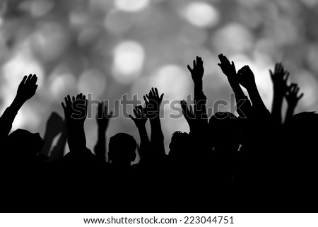 Group of people hands up - stock photo