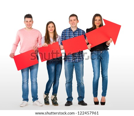 Group of people holding an arrow rising - stock photo