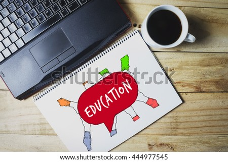 Group of people holding Education message draw on a sketch book 