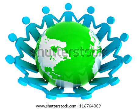 Group of people holding hands around green globe isolated on white background - stock photo