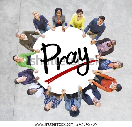 Group of People Holding Hands Around Letter Pray - stock photo