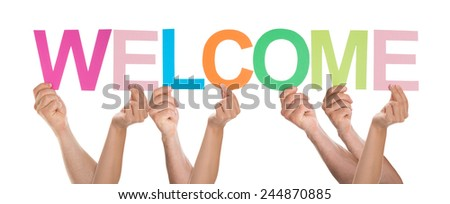 Group Of People Holding The Word Welcome Over White Background - stock photo