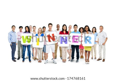 Group of People Holding Winner Alphabet - stock photo