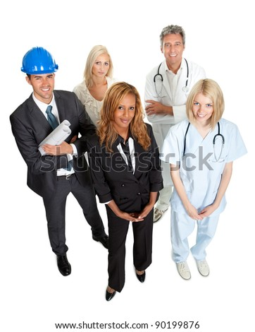 Group of people illustrating different career options - stock photo