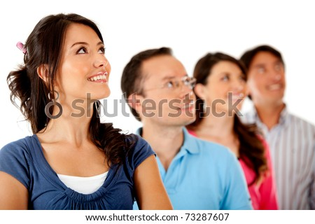 Group of people in a row looking up� isolated over a white background - stock photo