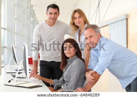 Group of people in business training - stock photo