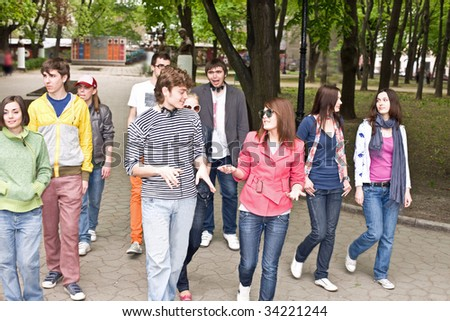 Group of people in city. Outdoor. - stock photo