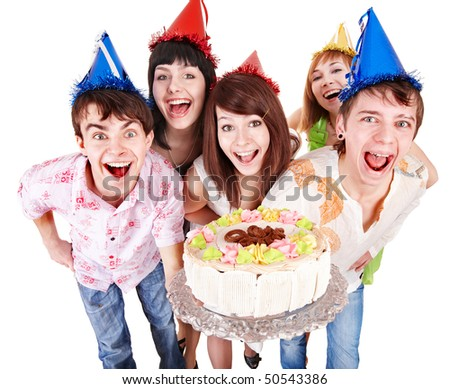 Group of people in party hat with cake. Isolated. - stock photo