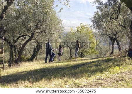 group of people in the country - stock photo