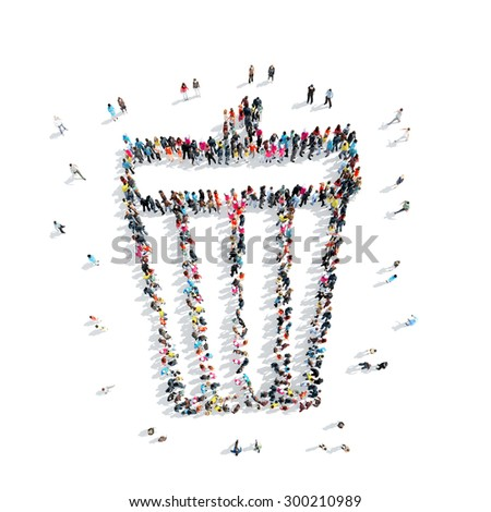 Group of people in the shape of the trash, flash mob. - stock photo