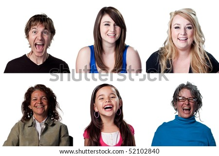 Group of people laughing out loud at the camera - stock photo
