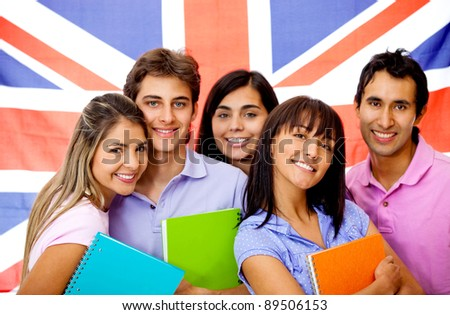 Group of people learning English as a foreign language in the United Kingdom - stock photo