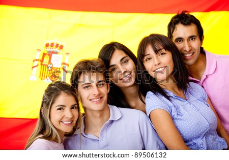 Group of people learning Spanish as a foreign language in Spain - stock photo