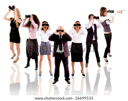 group of people looking and searching around - stock photo