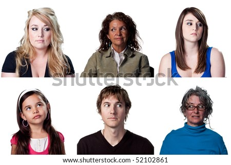 Group of people looking to the sides, away from the camera - stock photo